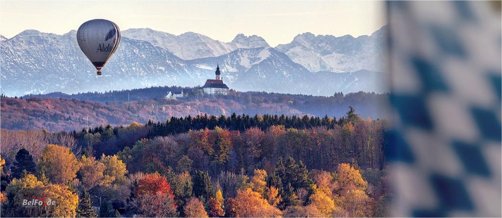 Föhnblick über den Wörthsee auf Kloster Andechs